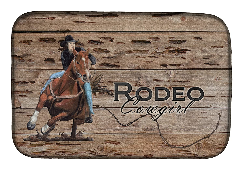 Caroline 's Treasures sb3055ddm Rodeo Cowgirl Barrel Racerディッシュ乾燥マット、14 x 21、マルチカラー   B07BQ9ZKDK