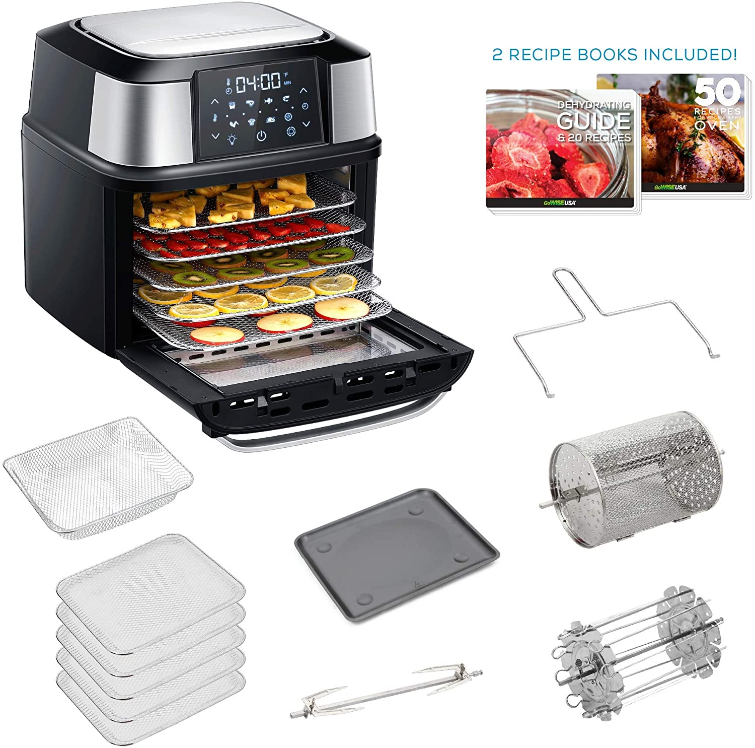 GoWISE USA Food Dehydrator and Air Fryer - 5 Drying Trays plus 6 Additional Accessories - Adjustable Time & Temperature Control - Perfect for Drying Beef Jerky, Herbs, Fruit, Vegetables, Dog Treats,