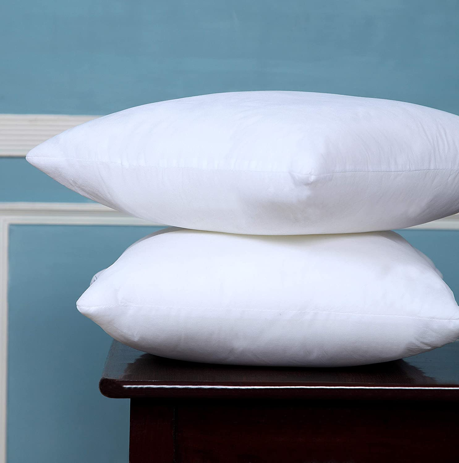 Bed bath & Home Throw Pillows Insert - 16 x 16 Inches Bed and Couch Pillows - Indoor Decorative Pillows (Pack of 2, White)