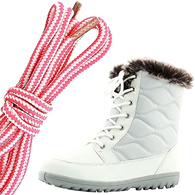 Women's Comfortable Round Toe Flat Ankle High Eskimo Winter Fur Snow Boots Pink White