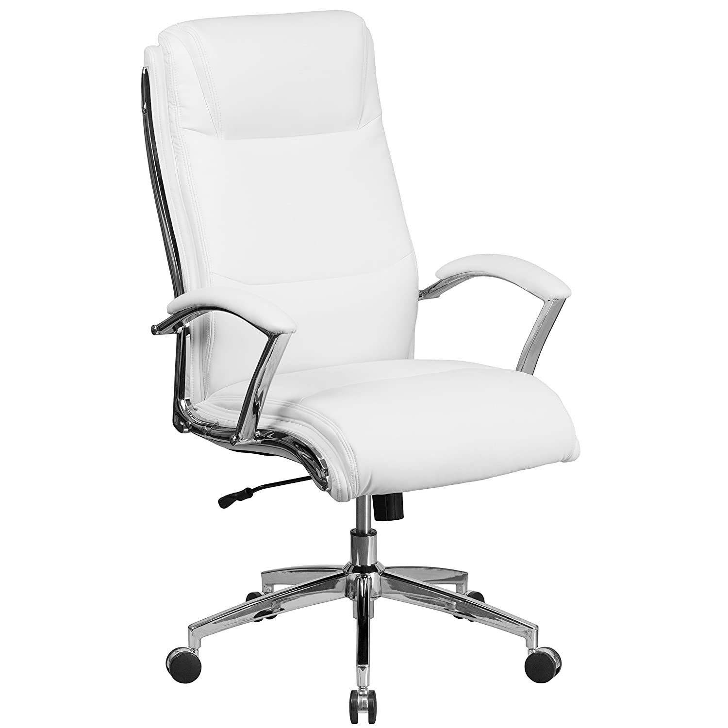 Flash Furniture High Back Designer White Leather Smooth Upholstered  Executive Swivel Office Chair with Chrome Base and Arms