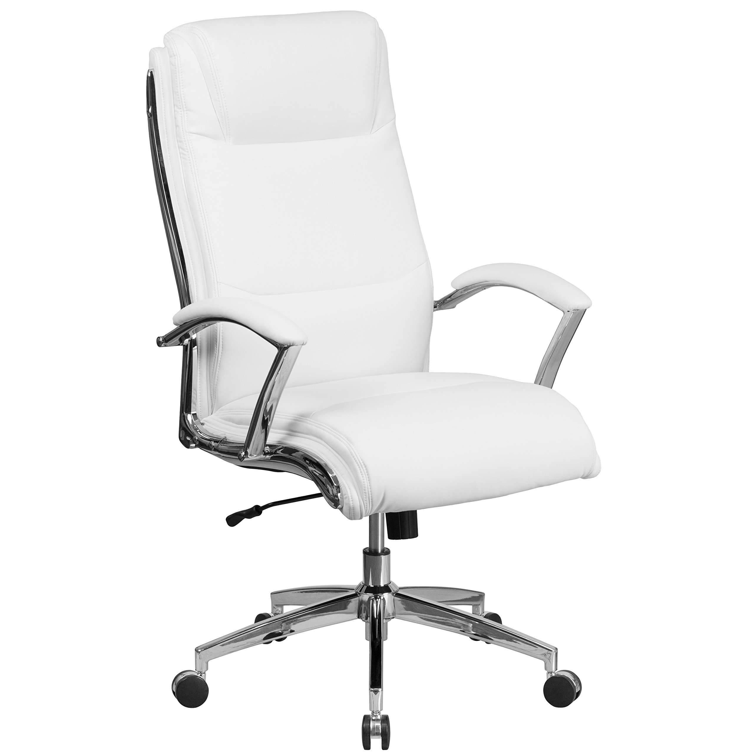 Flash Furniture High Back Designer White Leather Smooth Upholstered Executive Swivel Office Chair with Chrome Base and Arms by Flash Furniture