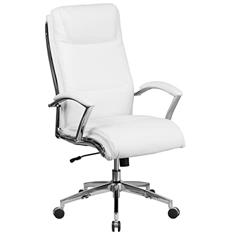 Remarkable Flash Furniture High Back Designer White Leather Smooth Upholstered Executive Swivel Office Chair With Chrome Base And Arms Alphanode Cool Chair Designs And Ideas Alphanodeonline