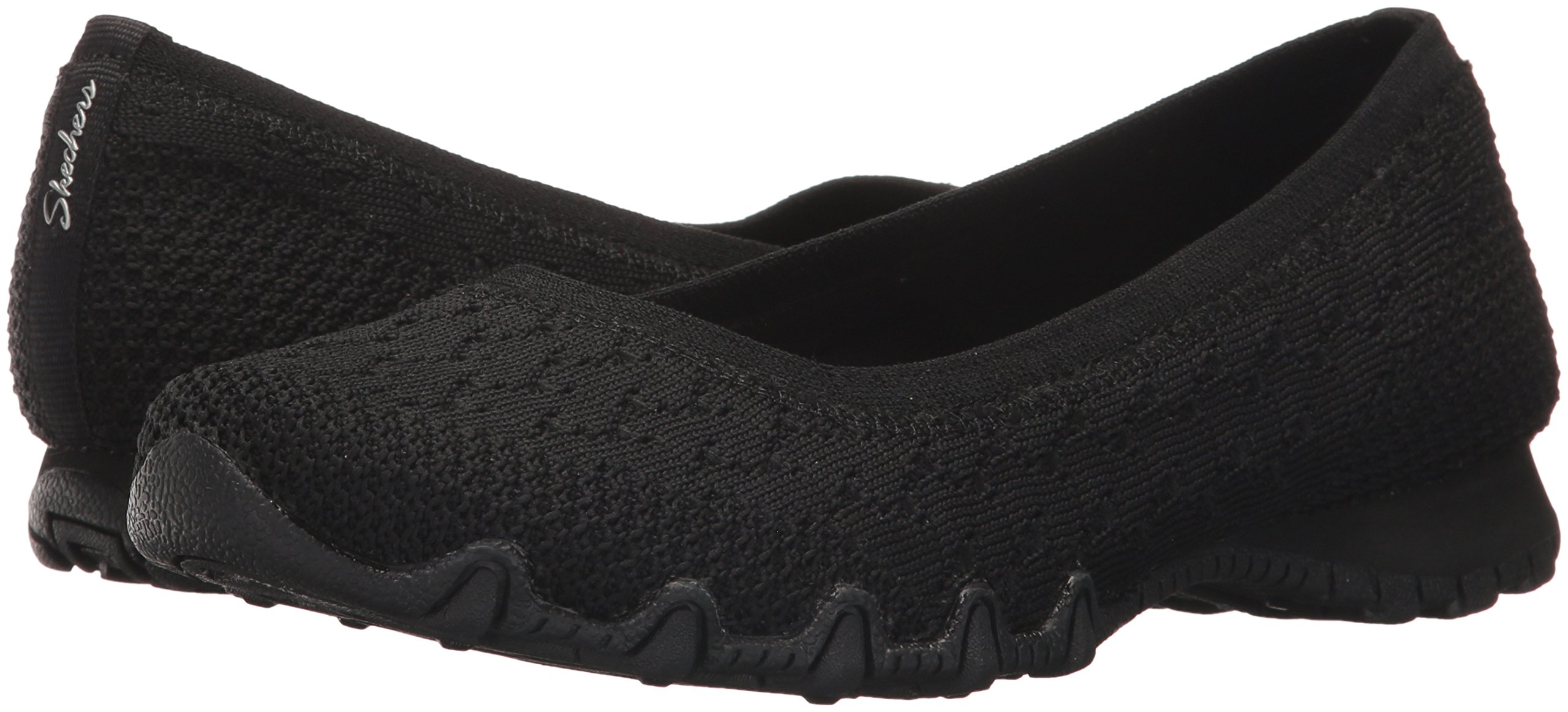 Skechers Women's Bikers-Witty Knit Ballet Flat, black, 10 Extra Wide US by Skechers (Image #6)
