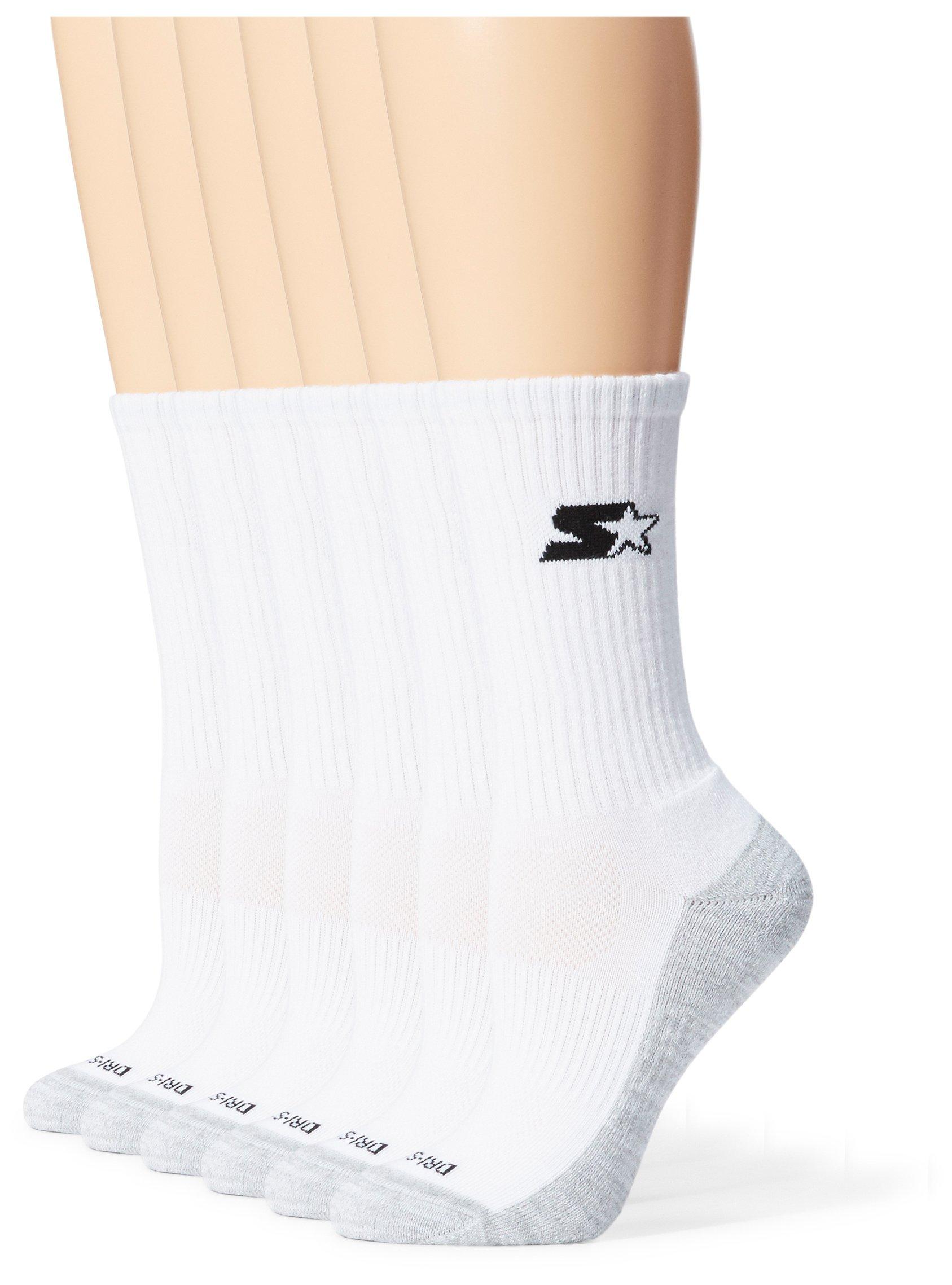 Starter Women's 6-Pack Athletic Crew Socks, Prime Exclusive, White, Medium (Shoe Size 5-9.5)