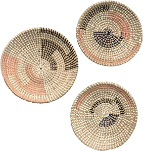 Set Of 3 Natural Seagrass w/ Coral, Navy & Gray Accents - BOHO BASKETS FOR WALL - Wicker Wall Decor - Boho Decor - Rattan Wall Decor - WOVEN TRAY- BOHO DECOR FOR LIVING ROOM - woven basket wall decor