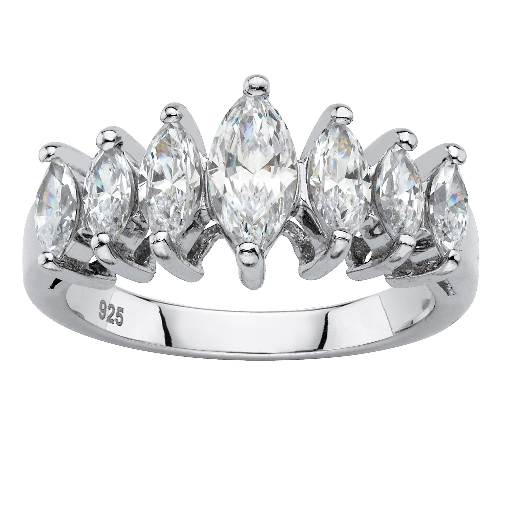 Platinum over Sterling Silver Marquise Cut Cubic Zirconia Anniversary Ring Size 8