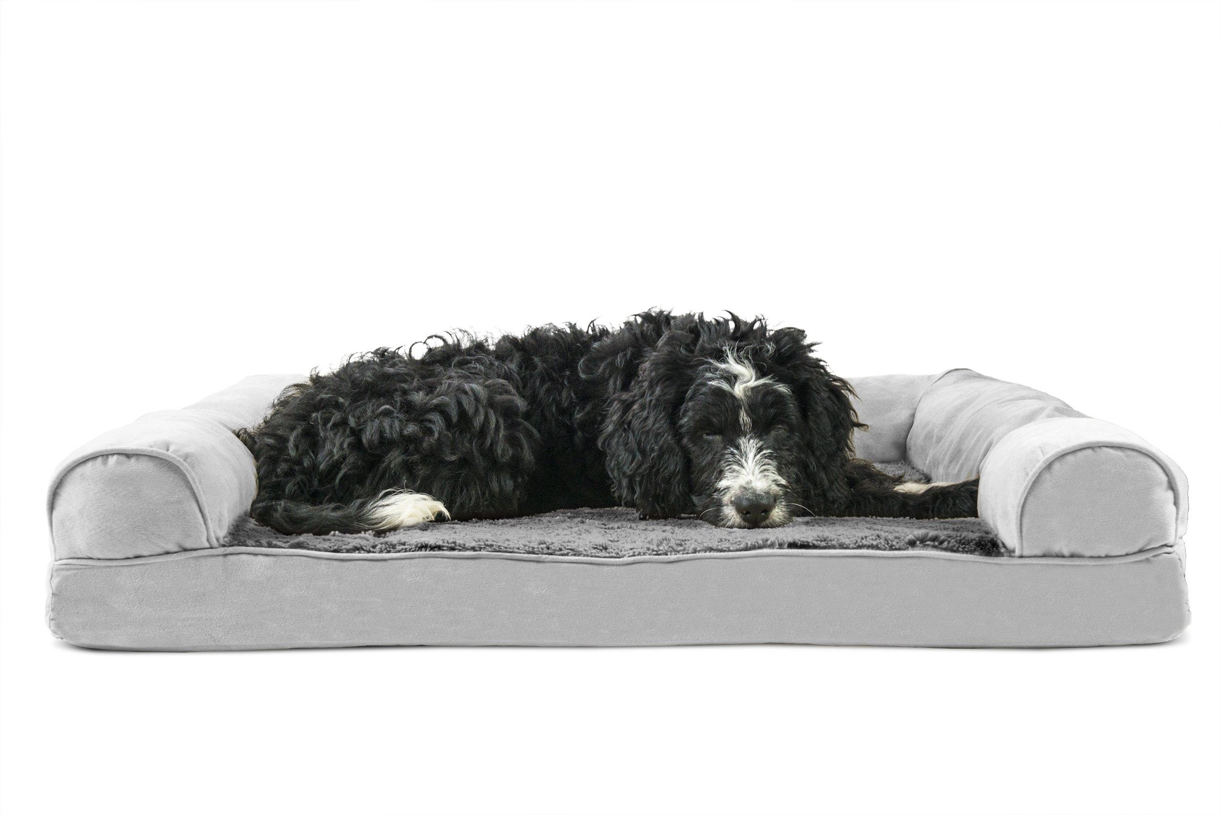 Furhaven Pet Orthopedic Sofa Pet Bed, Large, Gray