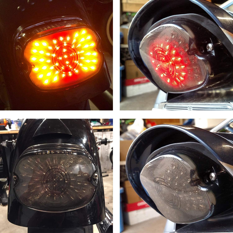 Harley Davidson Taillights Smoke Lens LED Brake Turn Signal Lights for 2002-2010 FXST Models Harley Sportster 1200 Dyna License Plate Light
