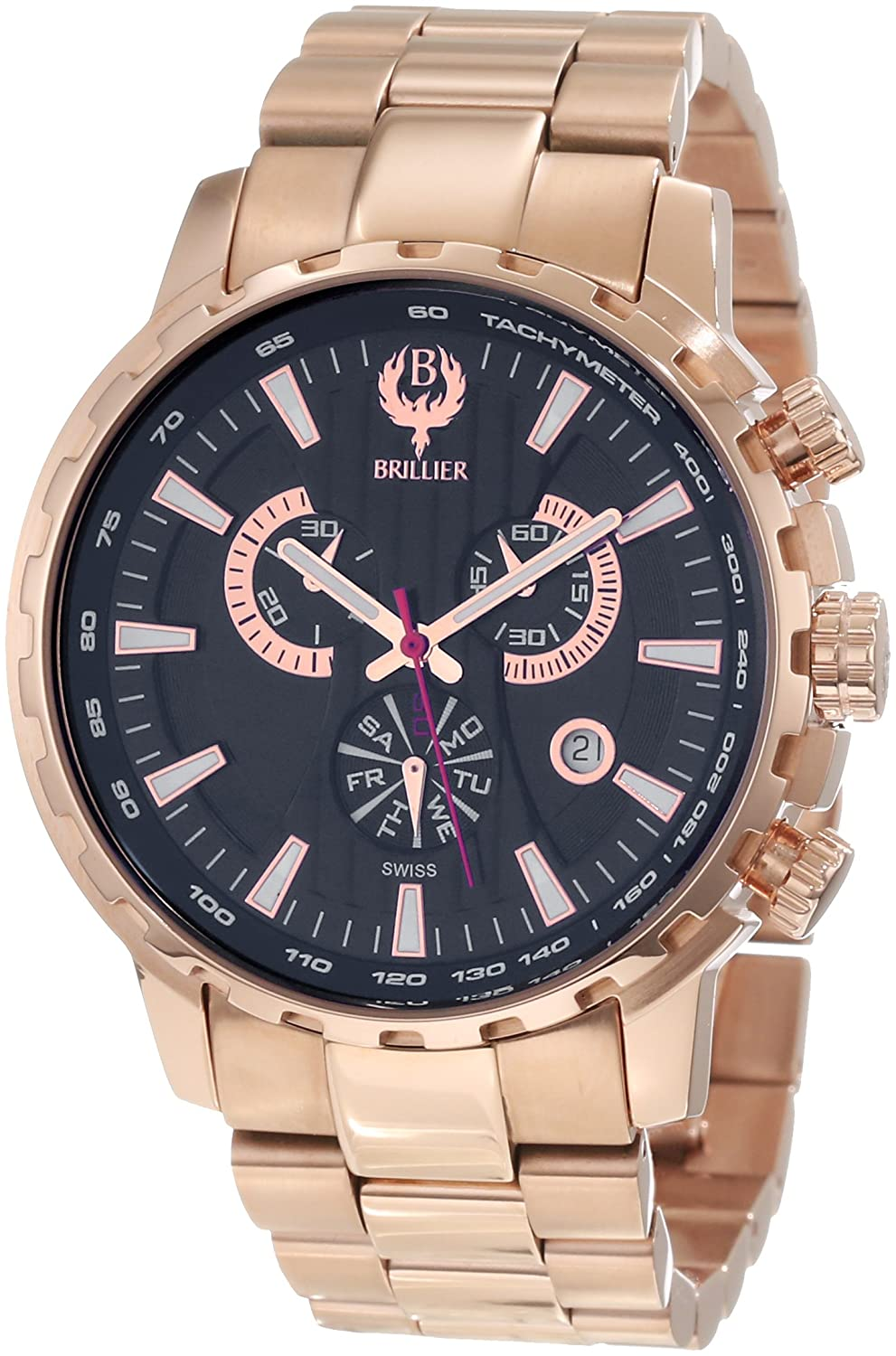 Brillier Herren 16-01 Endurer Rose Gold Chronograph Swiss Quartz Armbanduhr