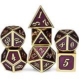 D&D Metal Dice Set Dark Purple with Gold Number