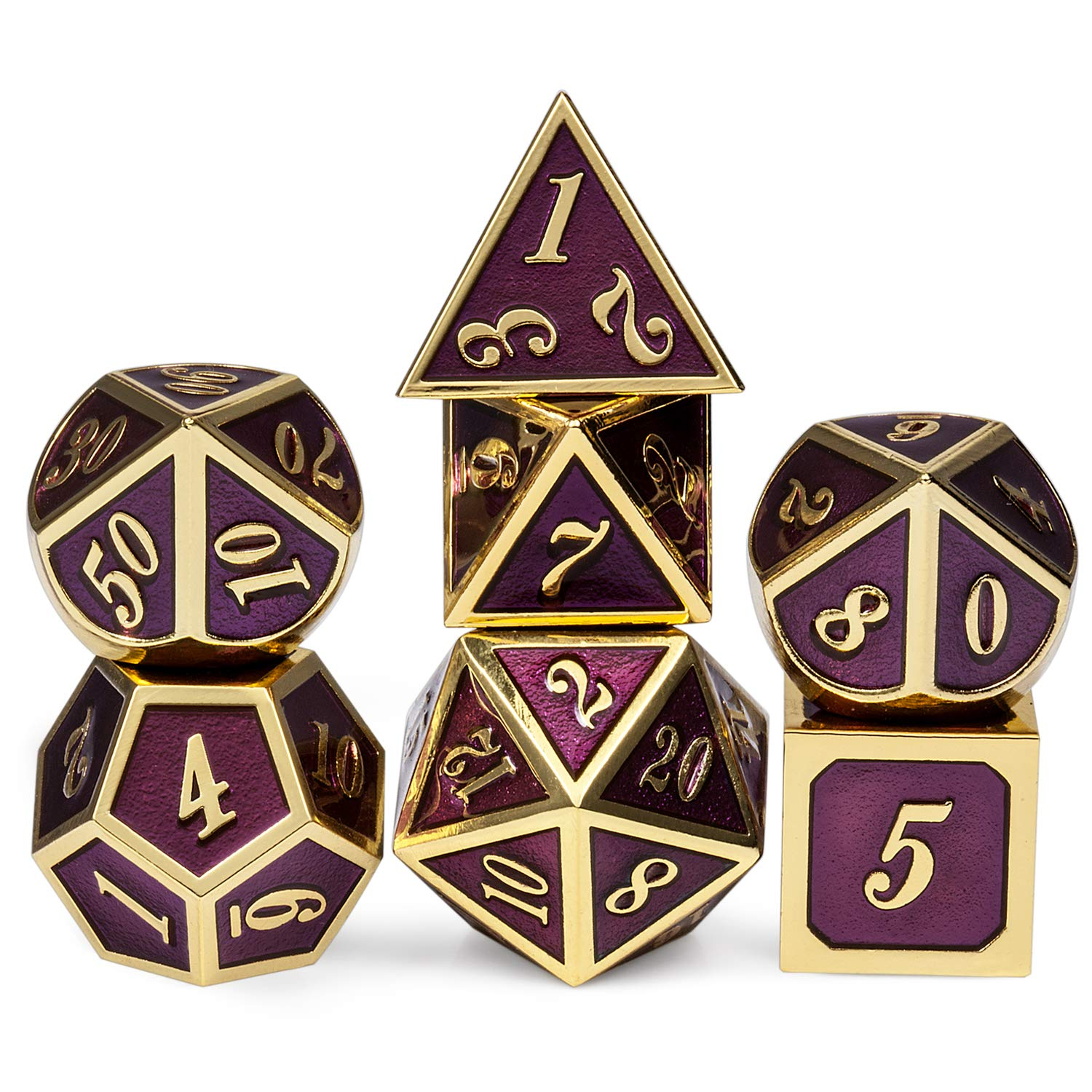 Table Game Metal Dice Set, 7PCS D&D Metal Die with Metal Gift Box for Tabletop Games Dungeons and Dragons Dice (Dark Purple and Gold Number) by DNDND (Image #1)