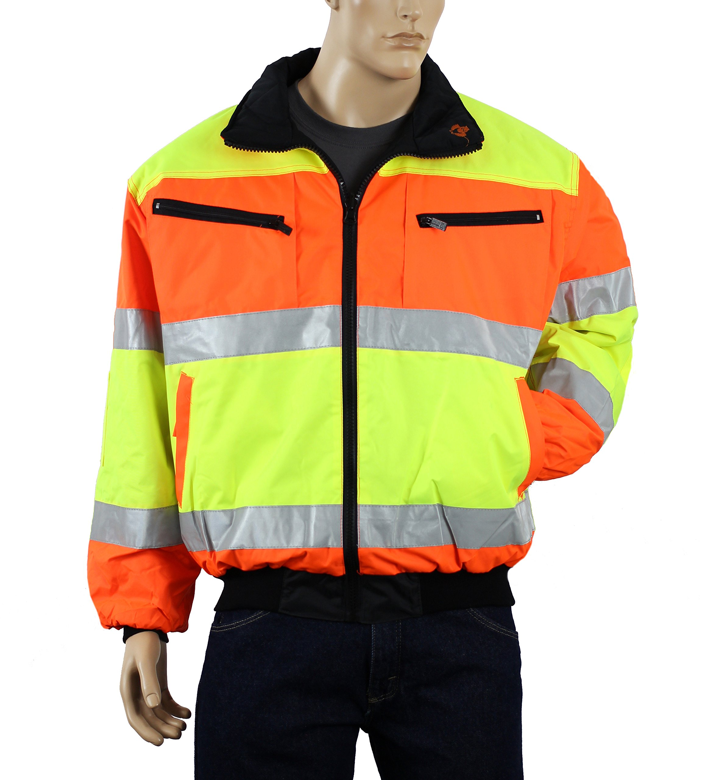 Safety Depot Cold Climate Safety Jacket ANSI Approved Class 3, Reversible, Water Resistant with Pockets (Large) by Safety Depot (Image #4)