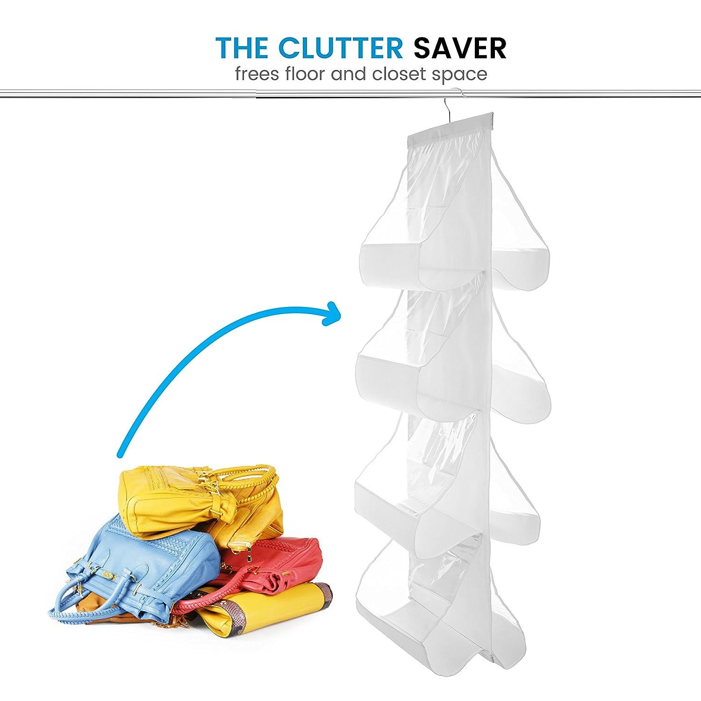 "Zober Hanging Purse Organizer For Closet Clear Handbag Organizer For Purses 8 Easy Access Clear Vinyl Pockets With 360 Degree Swivel Hook Gray Handbags Etc 48/"" L x 13.8/"" W"