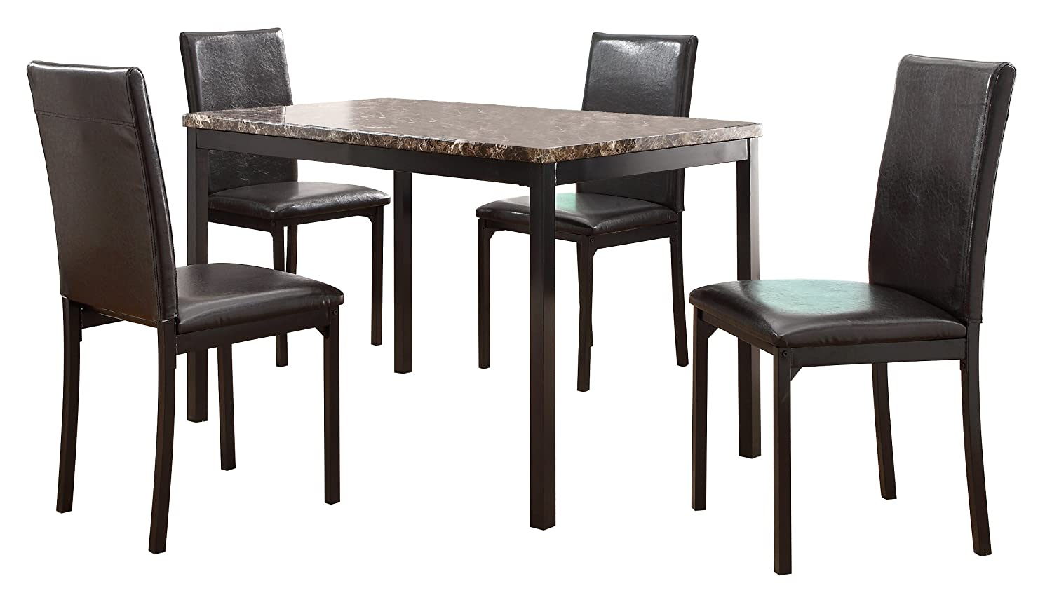 Amazon.com Homelegance Tempe 5-Piece Metal Dinette Set Laminated Faux Marble Top Kitchen u0026 Dining  sc 1 st  Amazon.com & Amazon.com: Homelegance Tempe 5-Piece Metal Dinette Set Laminated ...