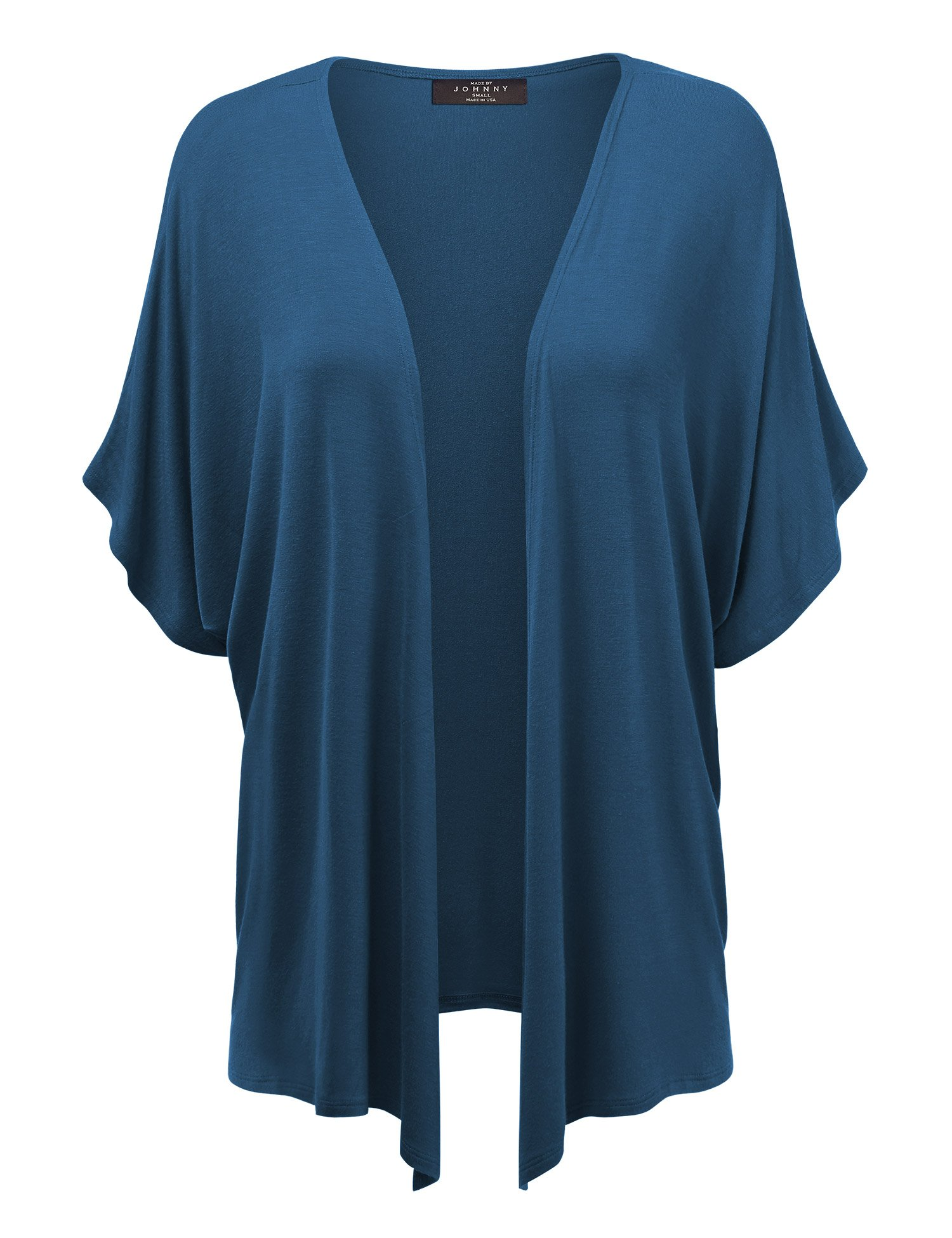 Made By Johnny MBJ Womens Short Sleeve Dolman Cardigan L Teal