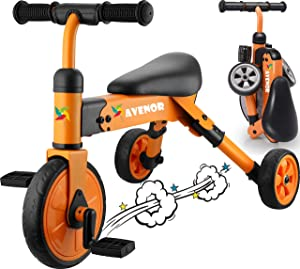 Avenor 2 in 1 Tricycles for 3 Year Olds - 2-4 Years Old Baby Tricycle Perfect As Toddler Bike for 2 Year Old Toddler Or Birthday Gift, Safe Folding Trike for 2 Year Olds Ideal for Boy Girl