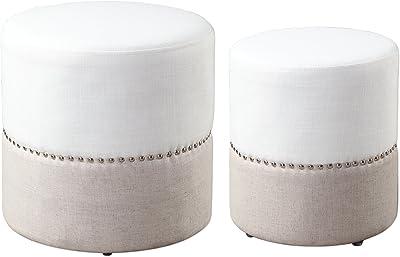 Mid century Modern Round Two Tone Ottoman Set | Nesting Drum Nailhead White