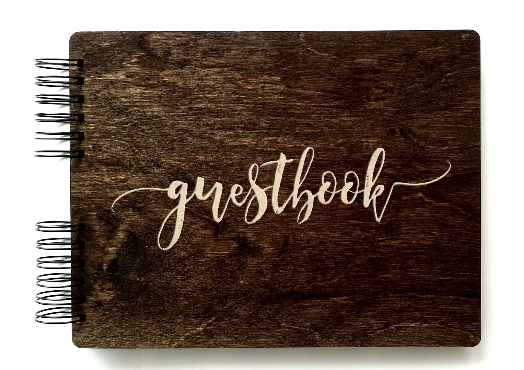 Wooden Rustic Guest Book 11'' x 8.5'' : Made in USA (All Black Cardstock Inside Pages, Front Cover GUESTBOOK Engraved) by Personalize It (Image #1)