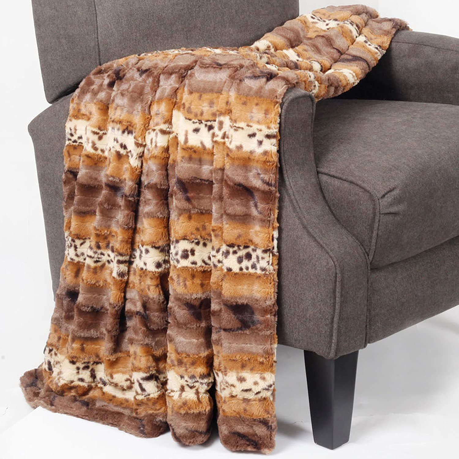 Home Soft Things Animal Printed Double Sided Faux Fur Throw, Brushed Leopard