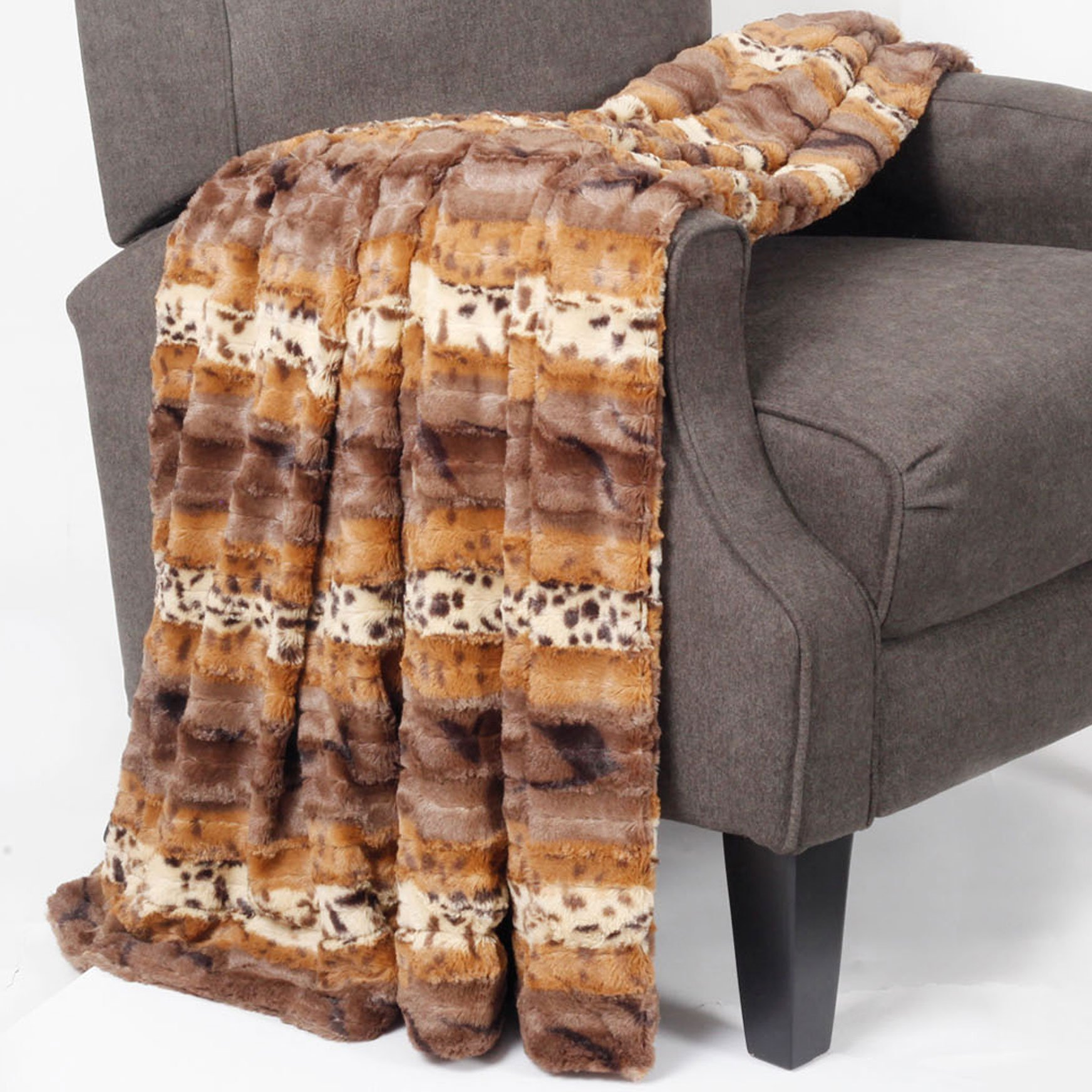 BNF Home Boon Animal Printed Double Sided Faux Fur Throw, 60'' x 80'', Brushed Leopard