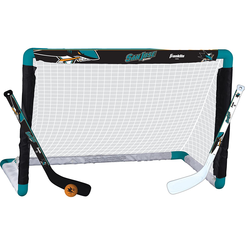 "Franklin Sports NHL Team Licensed Mini Hockey Knee Hockey Goal, Ball & 2 Stick Combo Set - 28"" x 20"" Goal Net - NHL Official Licensed Product"