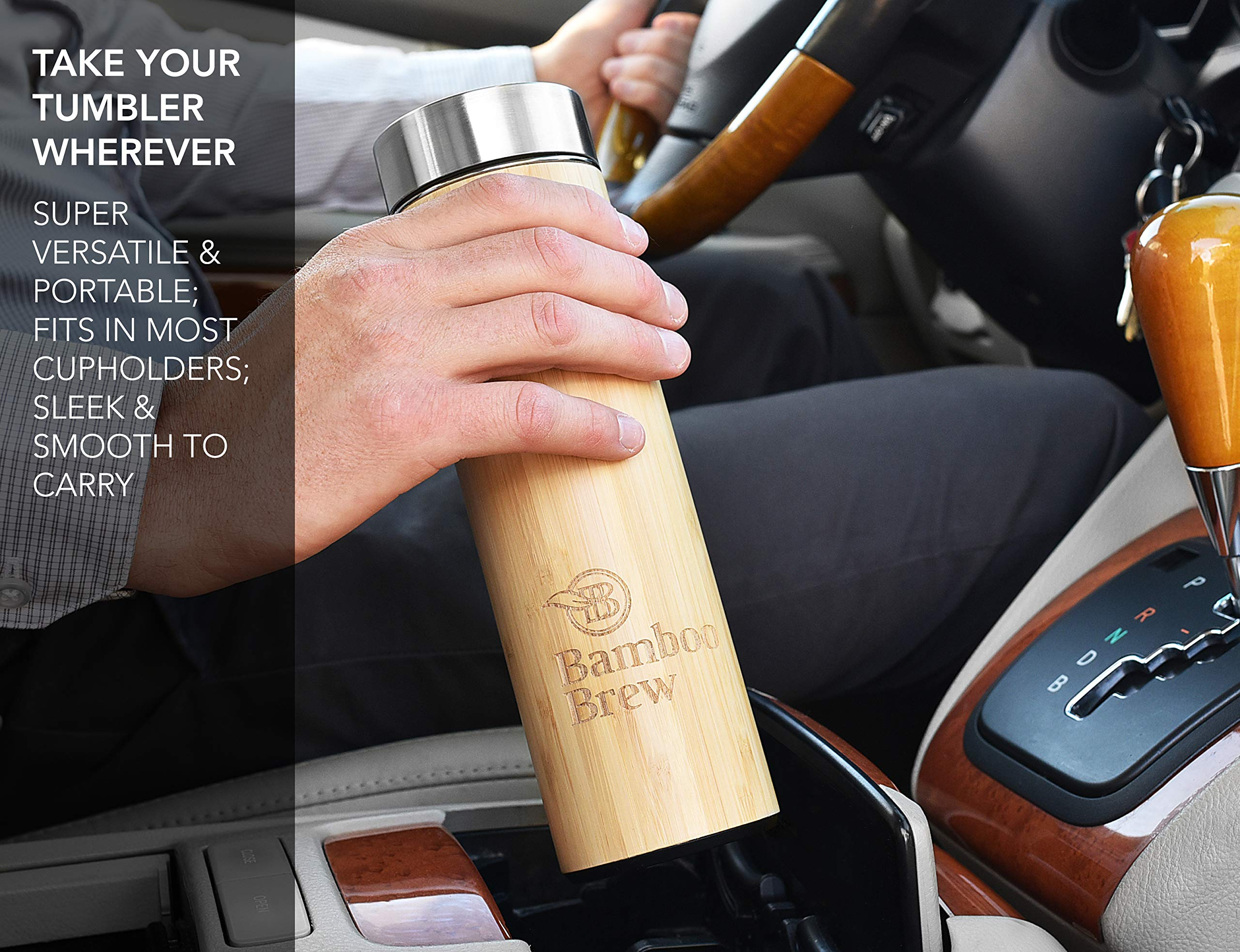 Bamboo Tumbler with Infuser & Strainer 18oz | Stainless Steel Coffee & Tea Flask | Double Wall Vacuum Insulated Travel Mug | Loose Leaf Detox Brew & Fruit Infusion Water Bottle | Ecofriendly Thermos by Bamboo Brew (Image #5)