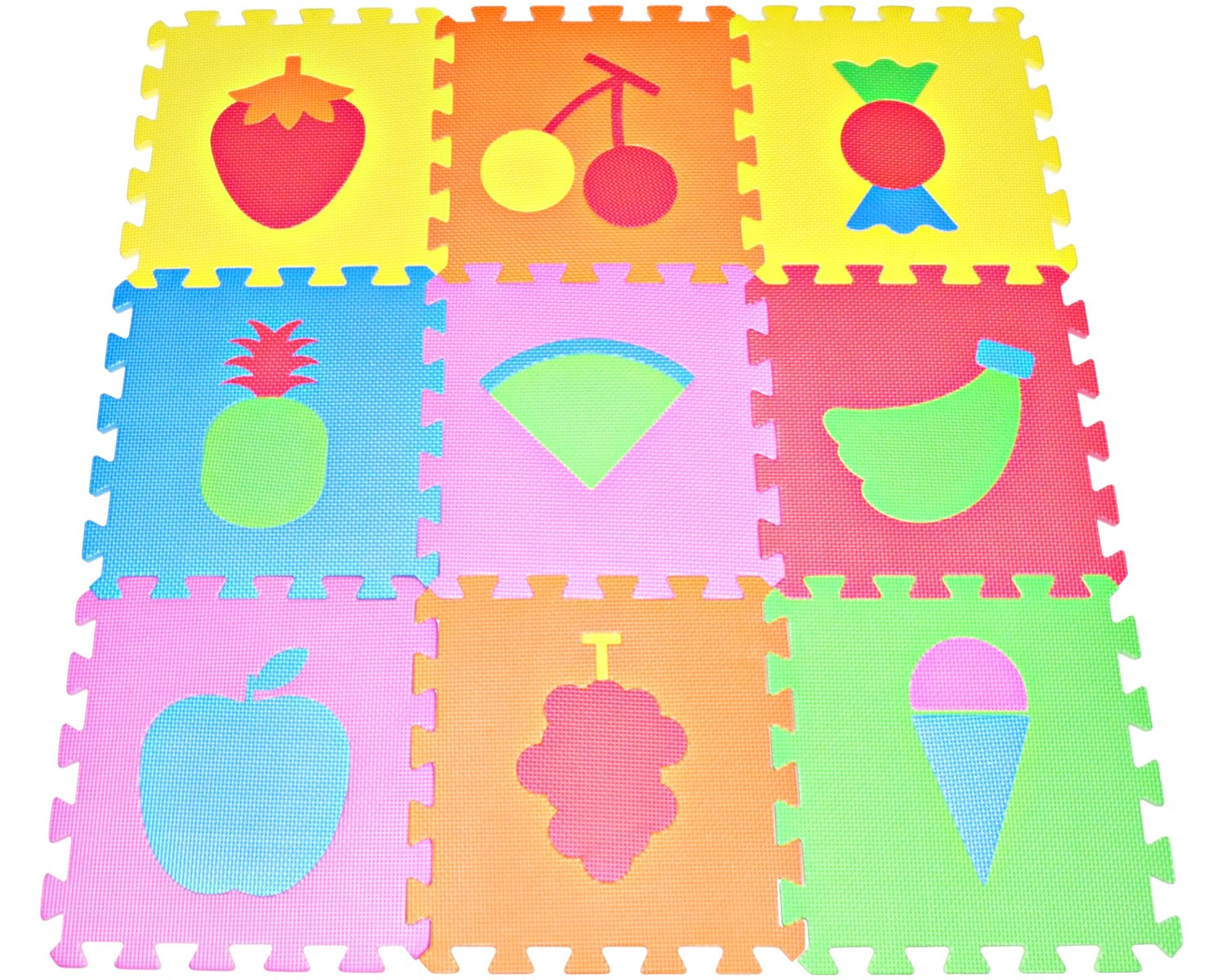 Amazon Fruit Puzzles Play Mat 9 Tile Eva Foam Multi Color Kids