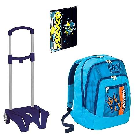 807cf10cc7 Seven Zaino Scuola Advanced Color Boy Azzurro + Easy Trolley + Cartellina A4