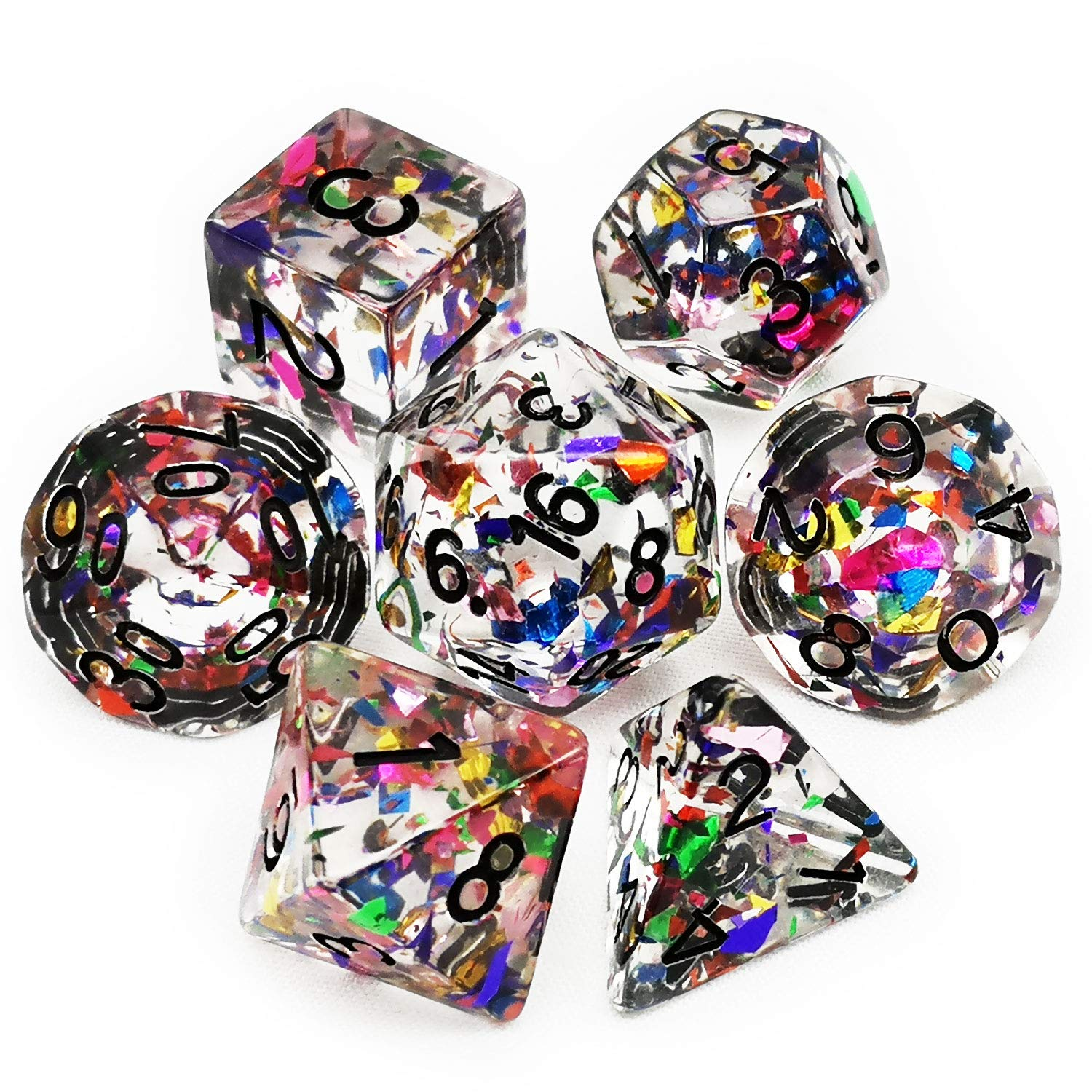 Haxtec Rainbow DND Dice Set 7PCS Polyhedral Confetti Dice for Roleplaying Dice Games as Dungeons and Dragons-Confetti Dice by Haxtec