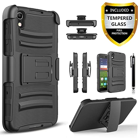 Alcatel Idol 4 / Alcatel Nitro 4 Case, [Combo Holster] And Built-In  Kickstand Bundled with [Tempered Glass Screen Protector] Hybird Shockproof  And