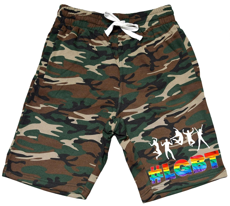 Mens Rainbow LGBT Party Crowd V210 Camo Fleece Jogger Sweatpant Gym Shorts