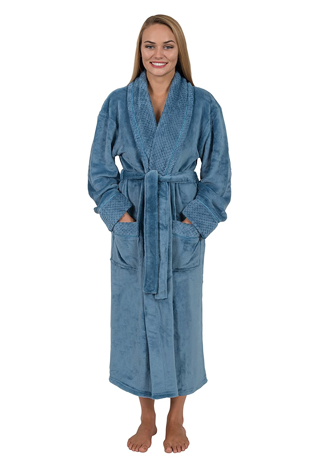 Women's Spa Style Full Length Plush Robe with Velvet Collar & Cuffs Plus Sizes Avail.
