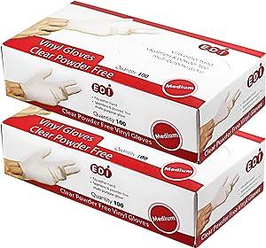EDI Disposable Vinyl Gloves Medium, 200 pcs (Clear) - Powder-Free, Latex-Free