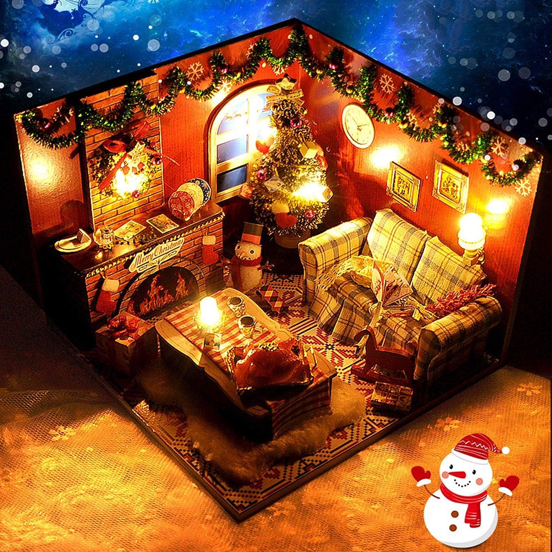Ur HQCC Modelo 3D De La Casa De Navidad DIY Santa House Christmas Village Building con Iluminación, Funciona con Pilas, Decoración del Hogar