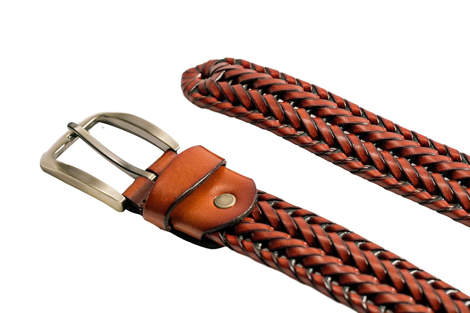 Elemental Belts Brown Leather Braided Belt for Men