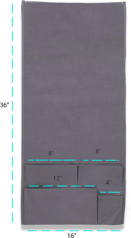 Wallniture Remote Control Holder Gray Tablet Gadget Caddy Pocket Organizer for Sofa Armchair Bedside Loft Bed Storage