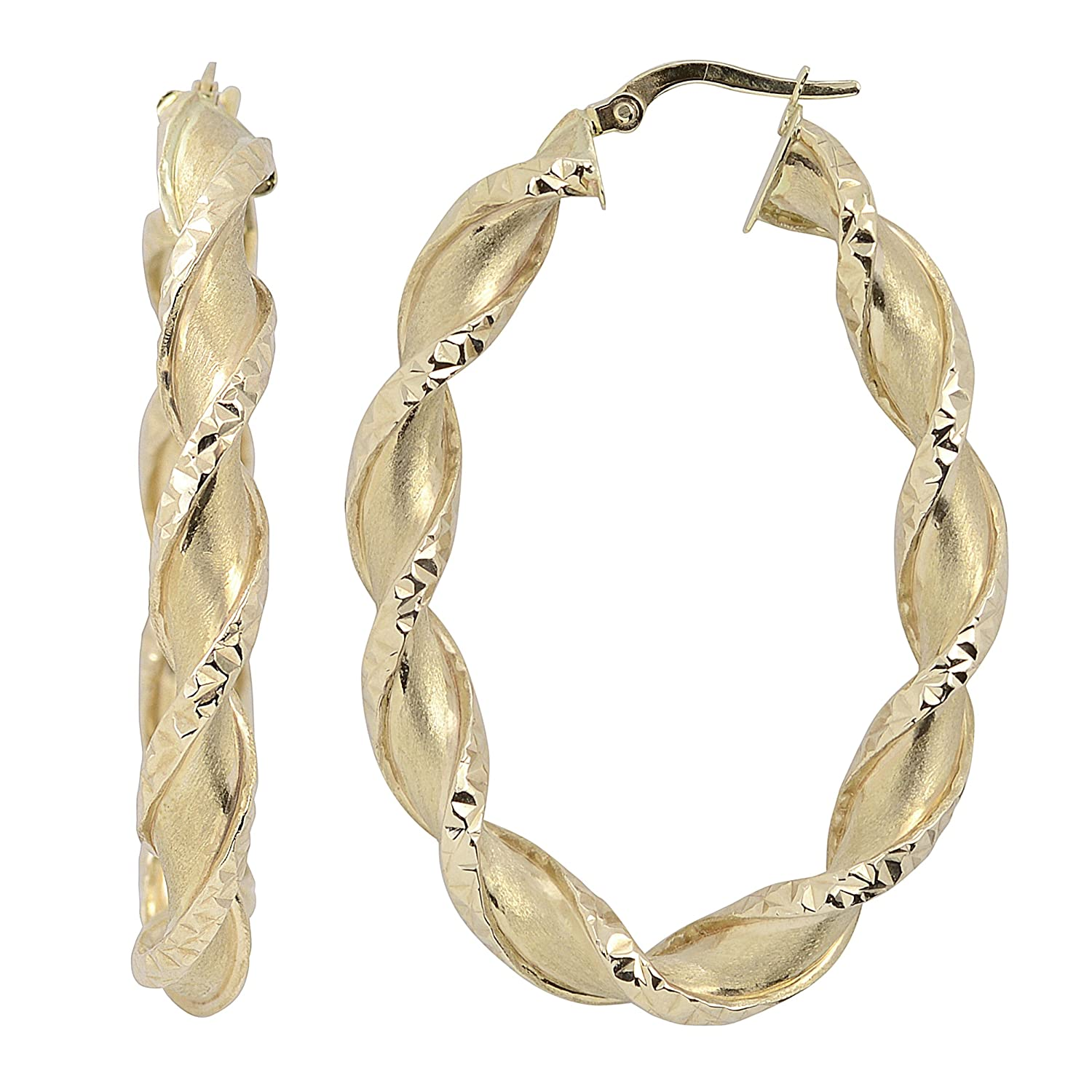 14k Yellow Gold Satin and Diamond-cut Finished Twisted Bold Oval Hoop Earrings