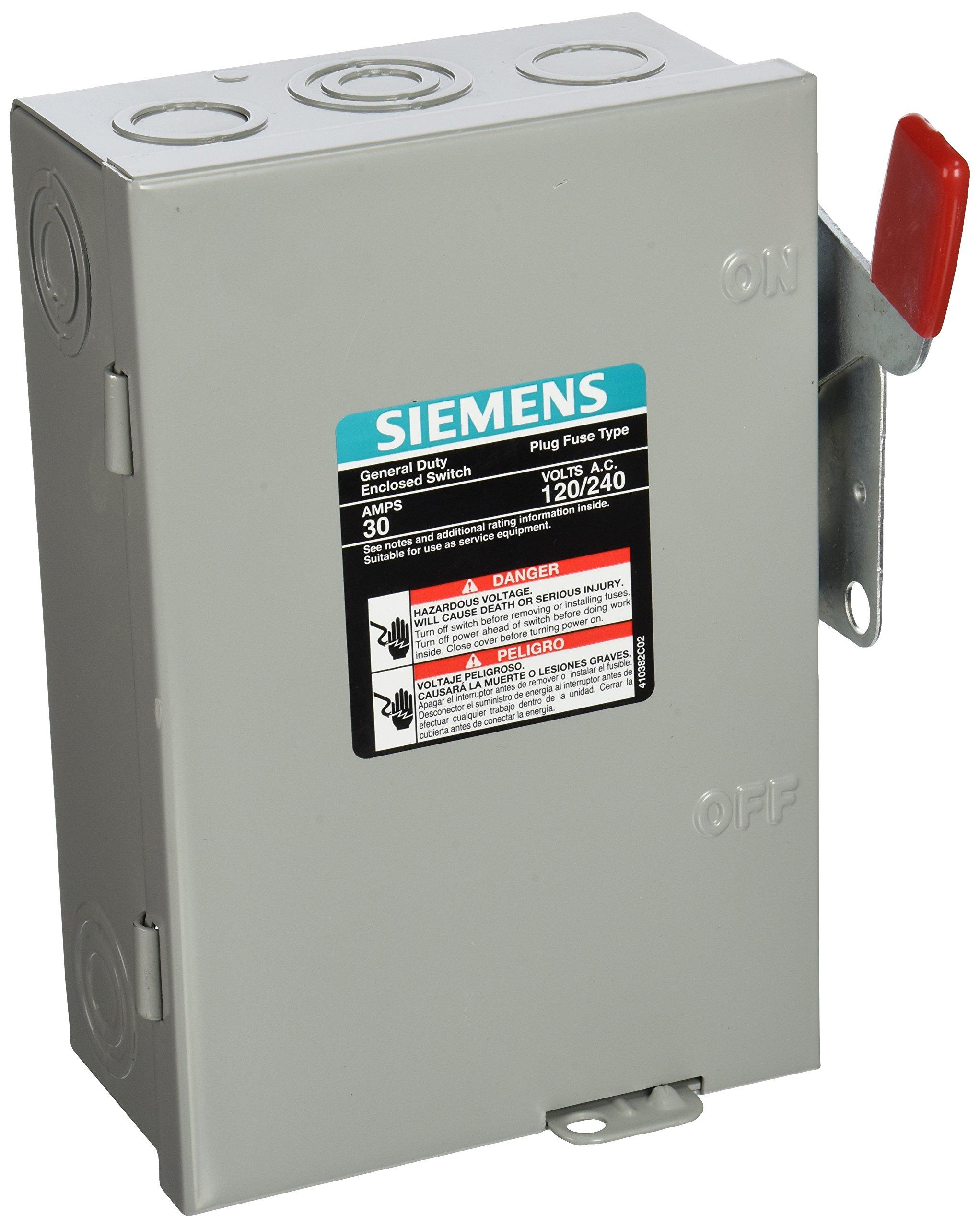 SIEMENS LF211N 30 Amp, 2 Pole, 240-Volt, PLUG Fused, General Duty, W/N Indoor Rated