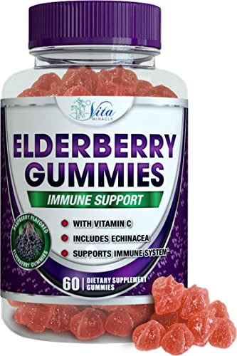 Sambucus Elderberry Gummies Adults Kids - 200mg Double Strength with Vitamin C and Echinacea Immune System Support Booster Gummy All Natural, 60 Gummies