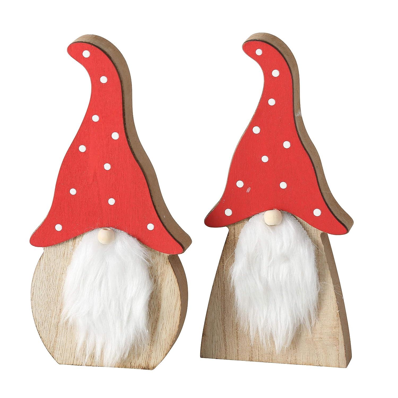 RiloStore Muggi 2 Pezzi di Legno Rosso Bianco a Pois Grandi 20 cm Gnomo Gnomo Personaggi in Legno Decorazione Natalizia