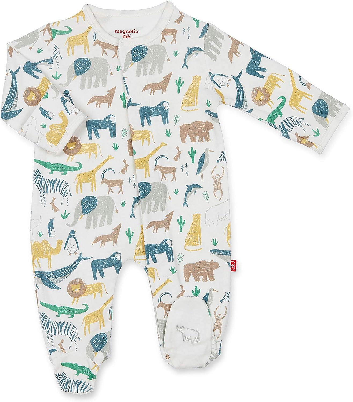 Magnetic Me Footie Pajamas 100/% Organic Cotton Baby Sleepwear Quick Magnetic Fastener Sleeper Serengeti Safari Animal 3-6 Months