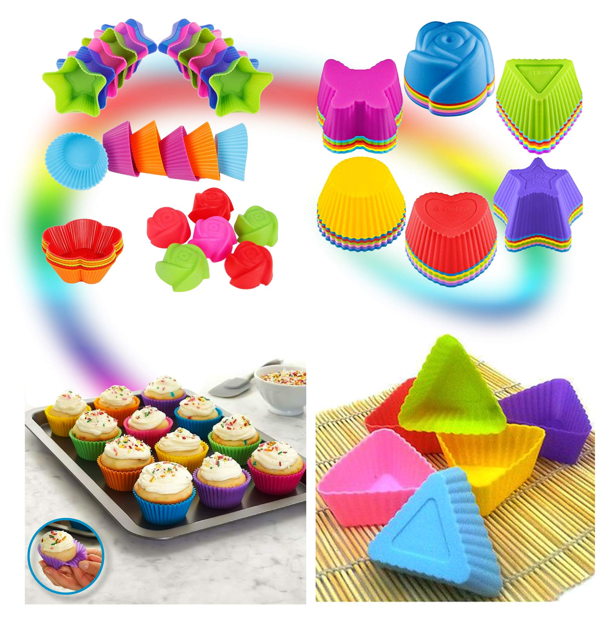 Cupcake Baking Cup Molds Bundle Easy Clean Pastry Liners 48 Nonstick Reusable Silicone Muffin Molds with Icing Pen Cupcake & Cake Decorating Pen Set by Kitchen Krush (Image #3)