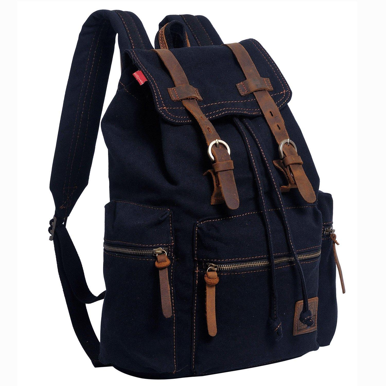 ecocity uni vintage canvas laptop rucksack backpack school bags