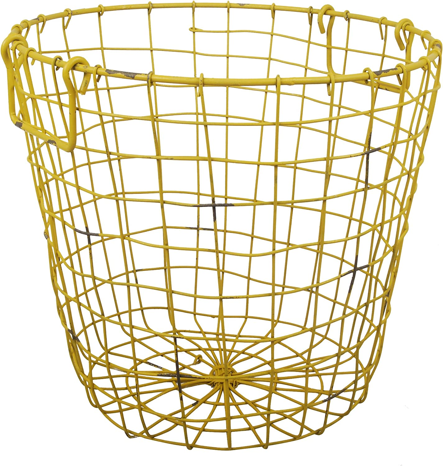 A&B Home, 13.8 by 12.6-Inch Grafton Round Wire Basket, Antique Yellow