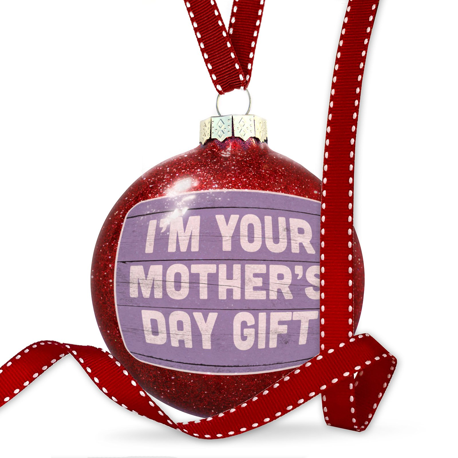 Christmas Decoration I'm Your Mother's Day Gift Mother's Day Purple Vintage Wood Planks Ornament