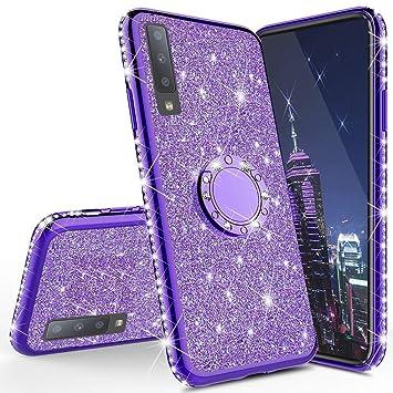 HMTECH Funda Galaxy A50,Carcasa Samsung Galaxy A50,Brillante Brillo Suave Silicona TPU Gel Parachoques Funda con Anillo Bling Diamantes Ultra-Delgada ...