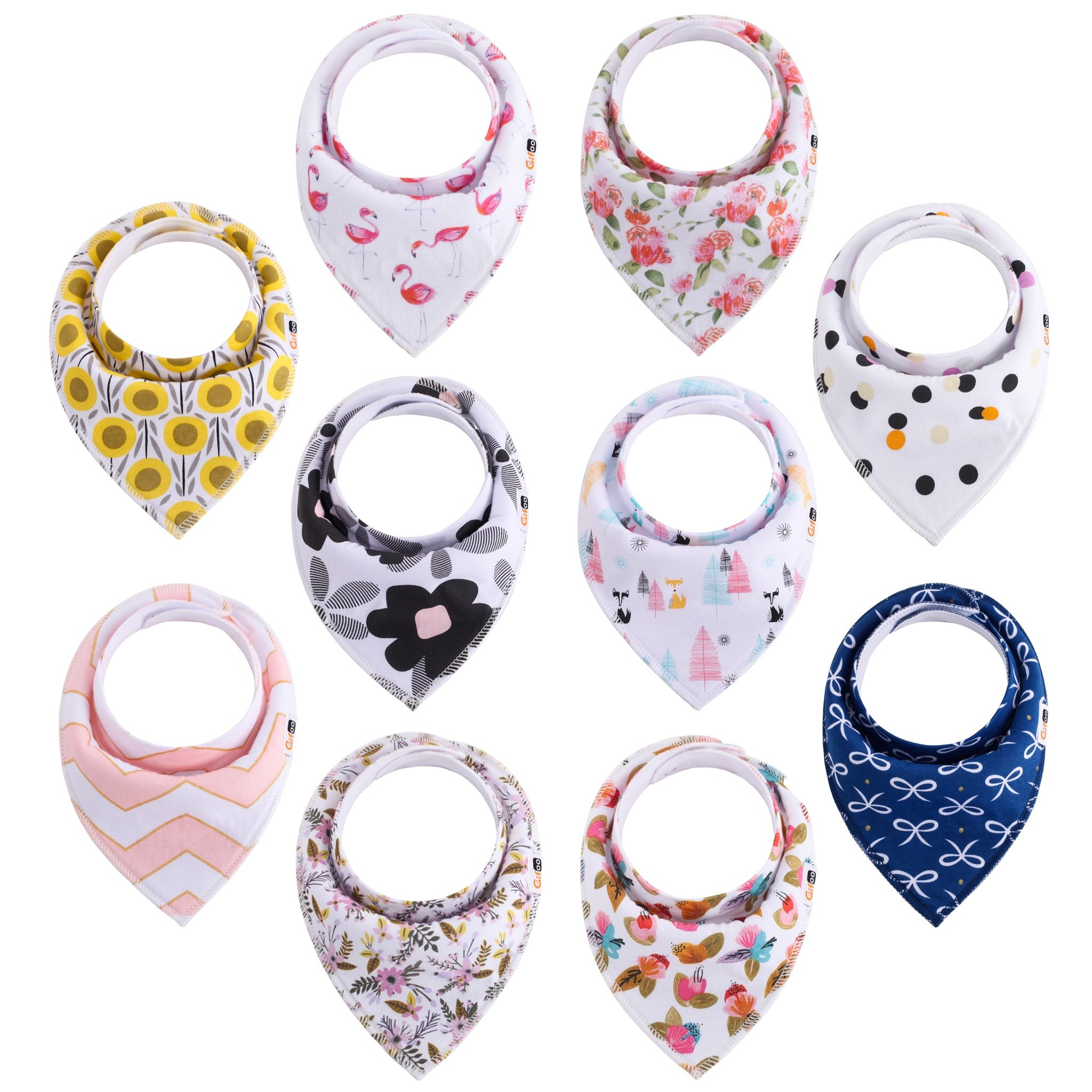 Baby Bandana Drool Bibs for Girls,Floral 10-Pack with Adjustable Snaps for Baby Shower Gift, 100% Organic Cotton, Soft, Absorbent and Stylish for Drooling and Teething Baby and Toddler by Gifoo!