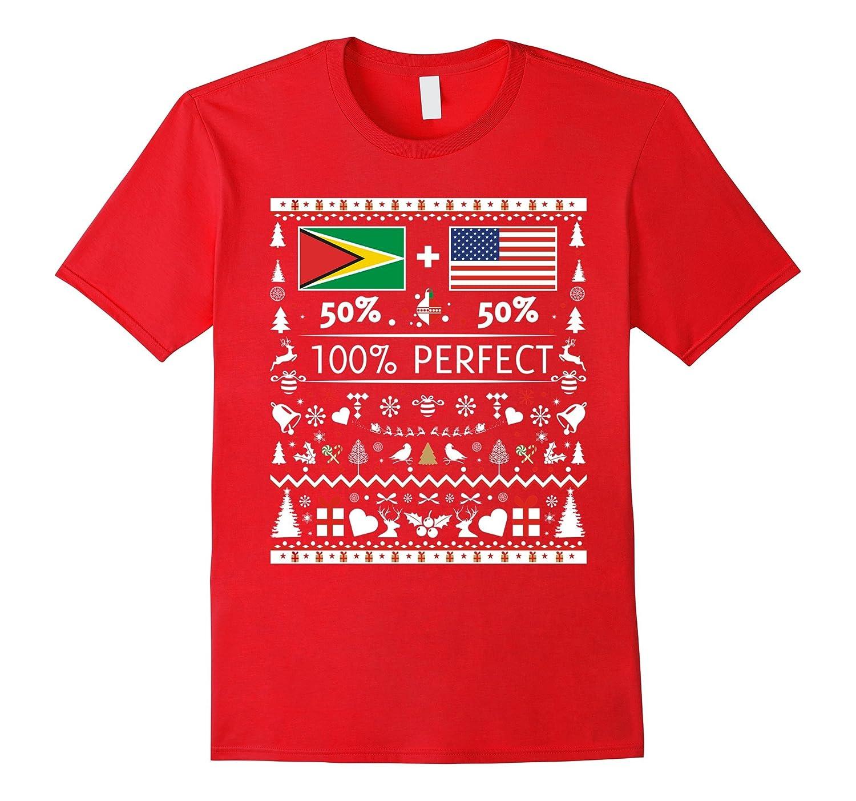50% GUYANA 50% USA Flags Christmas T Shirt for Guyanese-ANZ