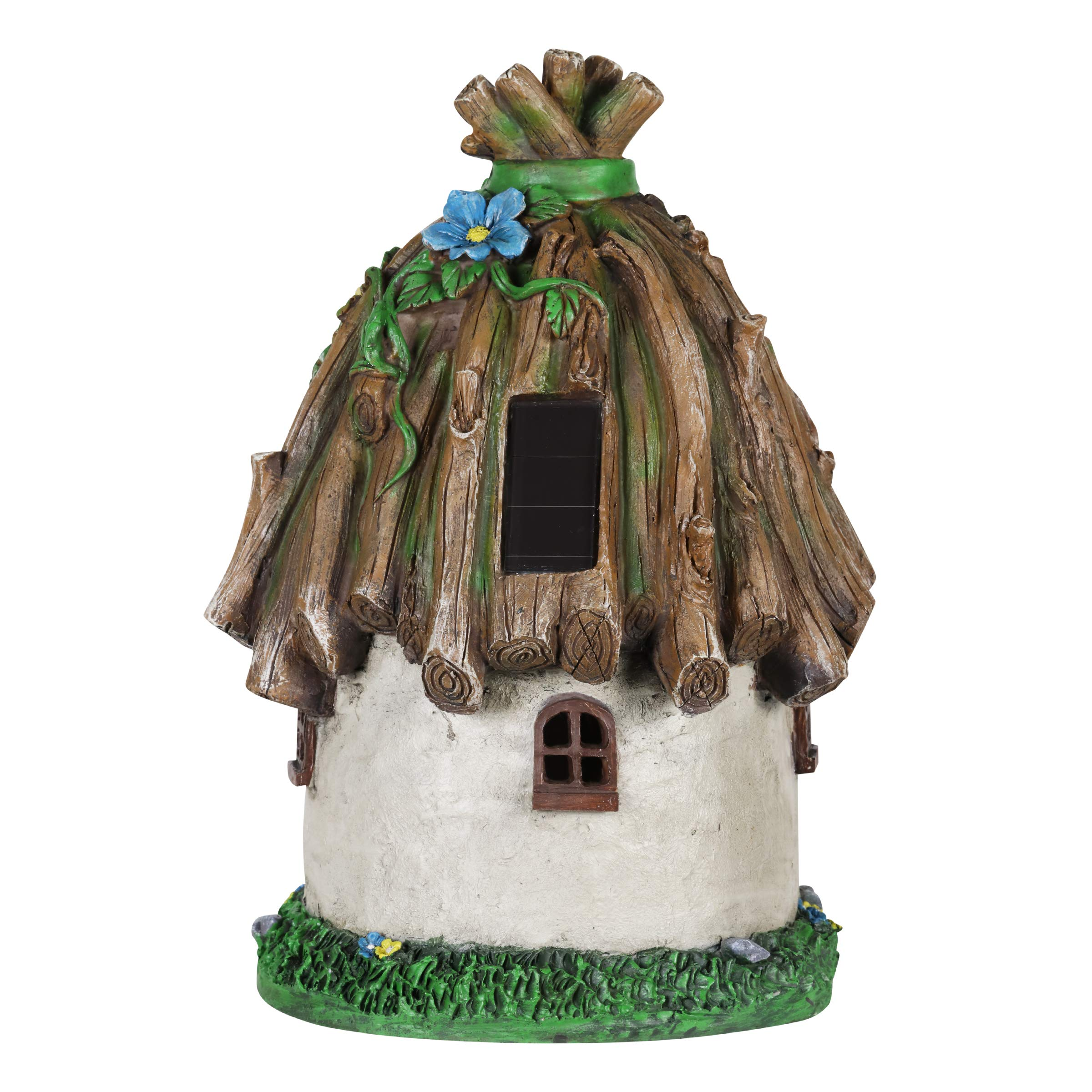 Exhart Twigs Roof Fairy House Outdoor Decor - Fairy Cottage Resin Statue with Solar Garden Lights, Miniature Fairy Hut Solar Home Decor for a Magical Fairy Garden, 9'' L x 9'' W x 15'' H by Exhart (Image #7)